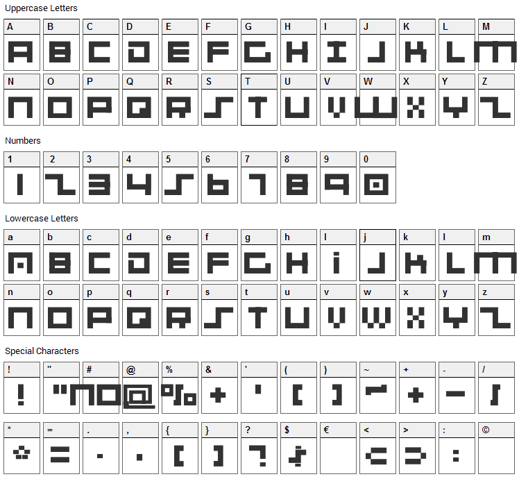 001 System Analysis Font Character Map