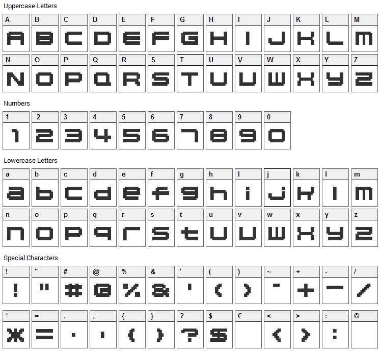 04b_20 Font Character Map