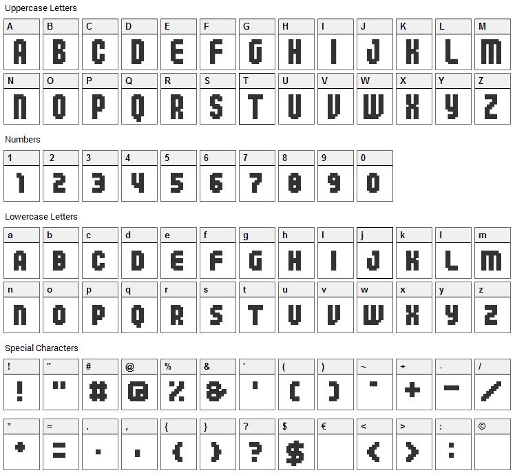 04b_25 Font Character Map