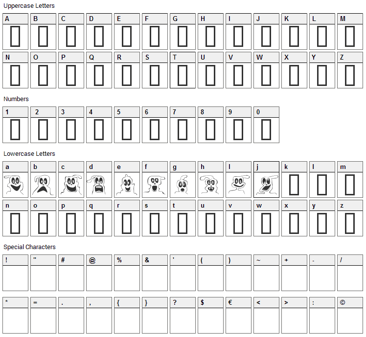 10 Lil ghosts Font Character Map