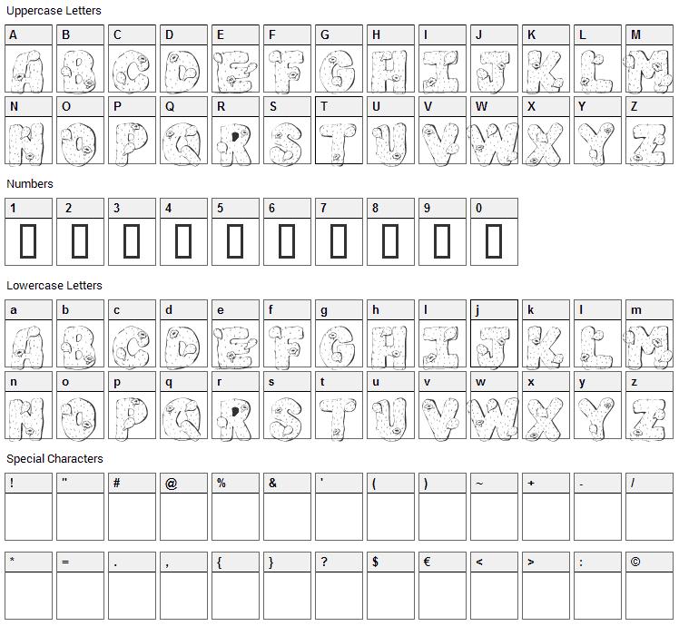 101 Cacti Font Character Map