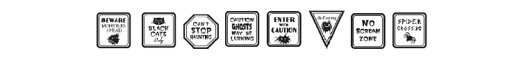 12 Halloween Signs LT Font