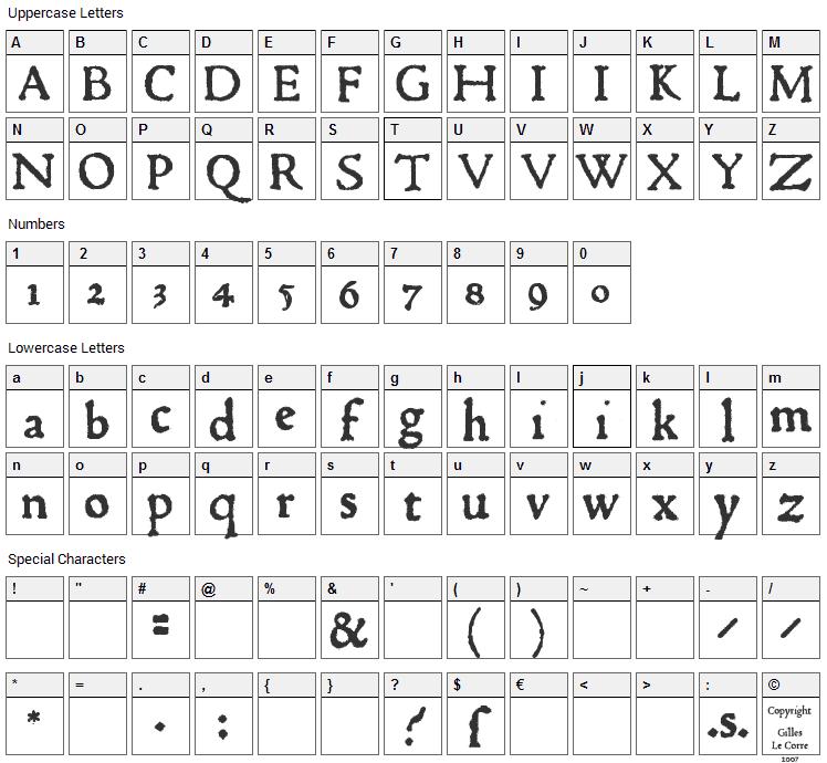 1470 Jenson Font Character Map