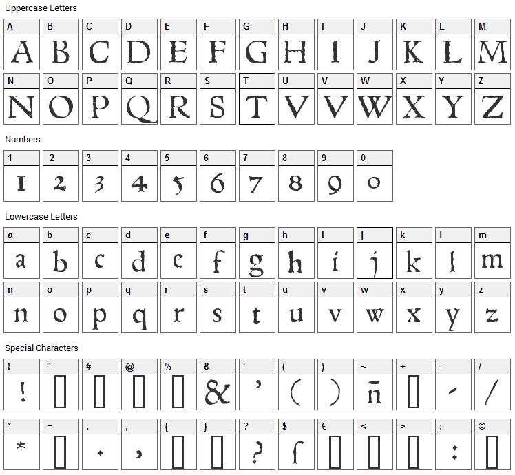 1543 Humane Jenson Font Character Map