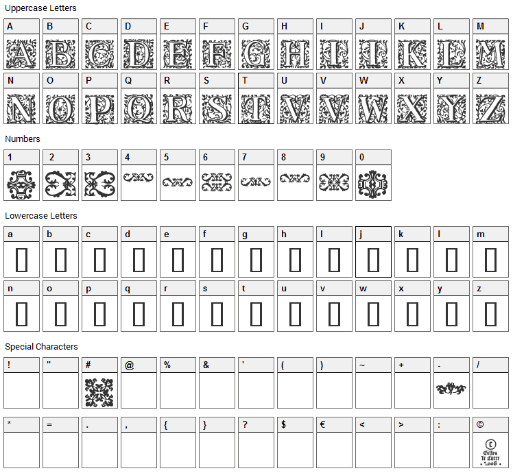 16th Arabesques Font Character Map