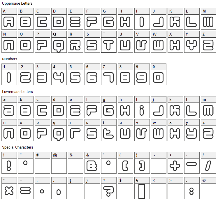 1900.80.5 Font Character Map
