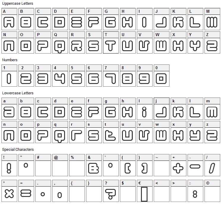 1900.80.5 Font Character Map