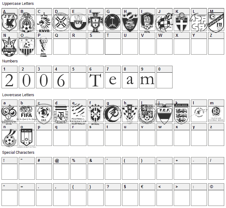 2006 Team Font Character Map