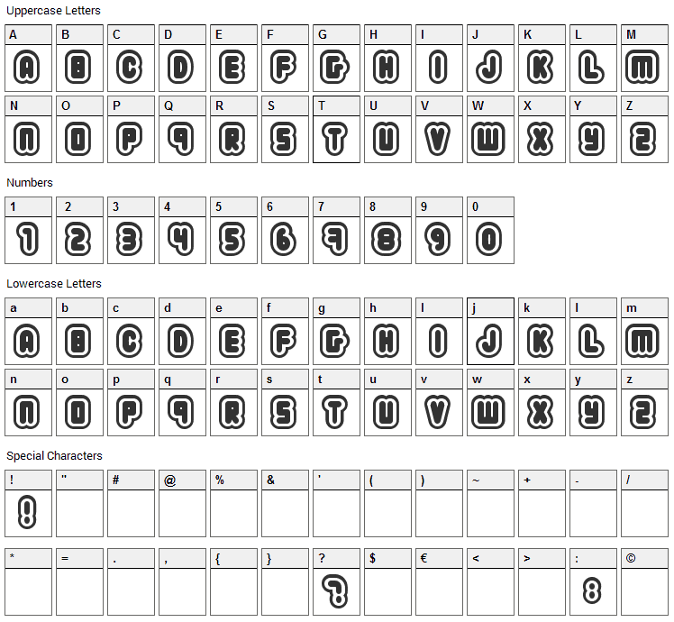 222.03 Font Character Map