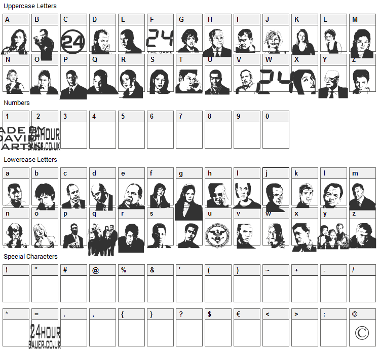24hourbauer Font Character Map