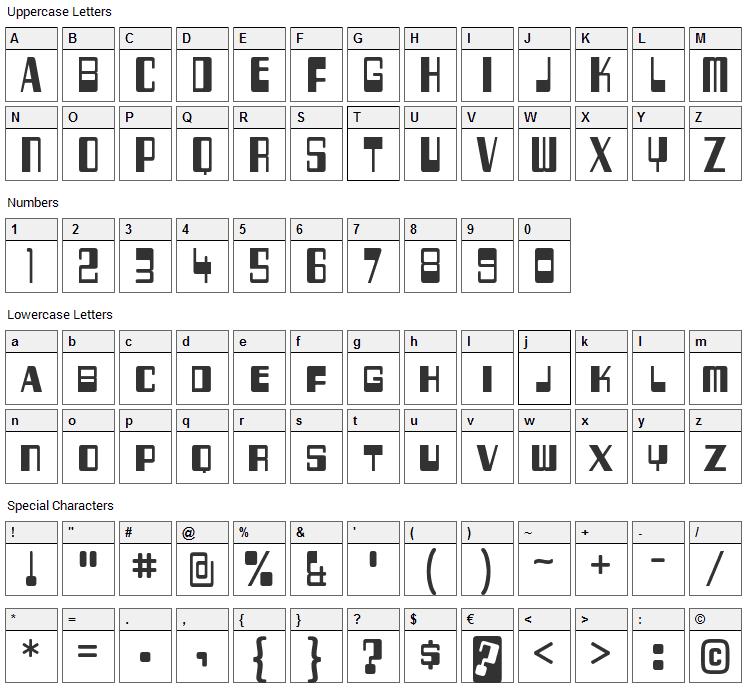 256 Bytes Font Character Map