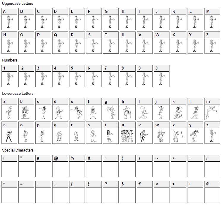 26Woman Font Character Map