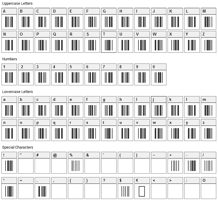 3 of 9 Barcode Font Character Map