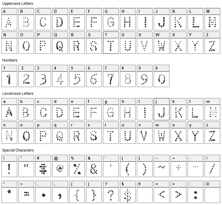 32 Pages Font Character Map