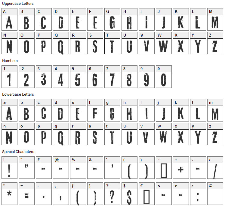 3rd Man Font Character Map