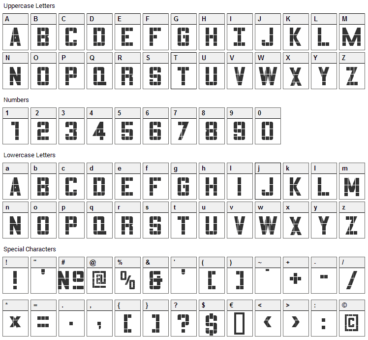 3x5 Font Character Map