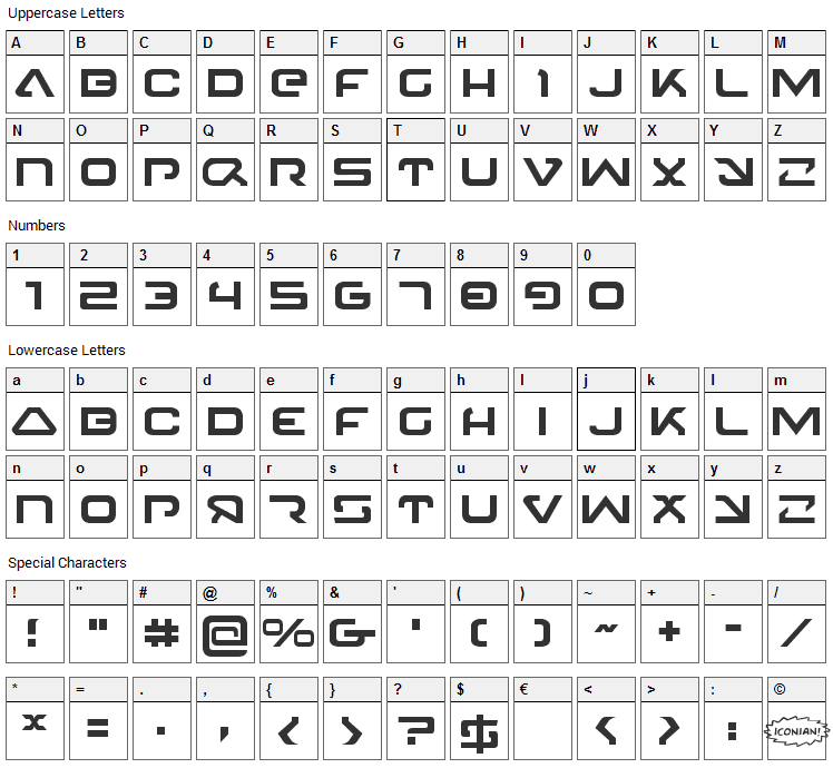 4114 Blaster Font Character Map