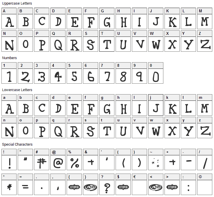 42 Fourty Two Font Character Map