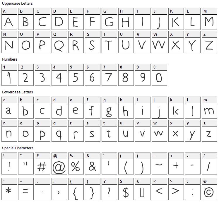 5 years old Font Character Map