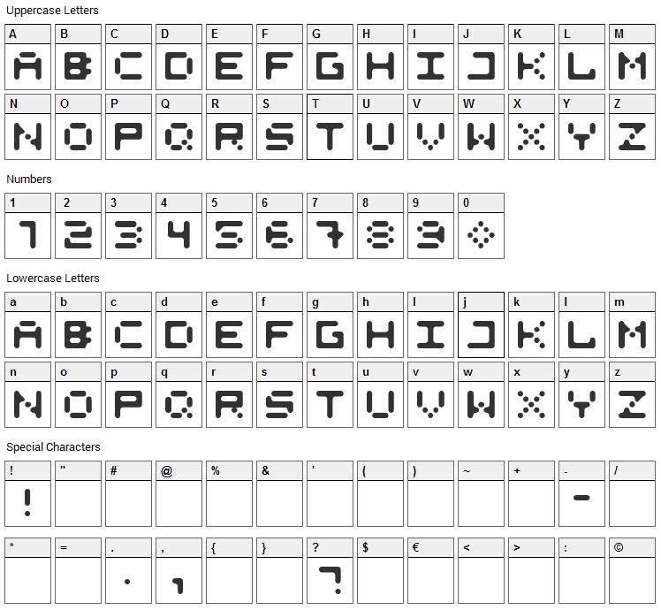 525 Round Font Character Map