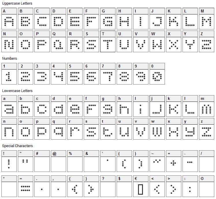 5x5 Dots Font Character Map