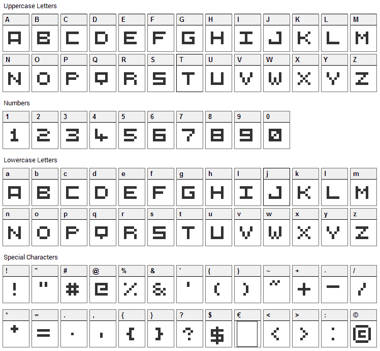 5X5 Font Character Map