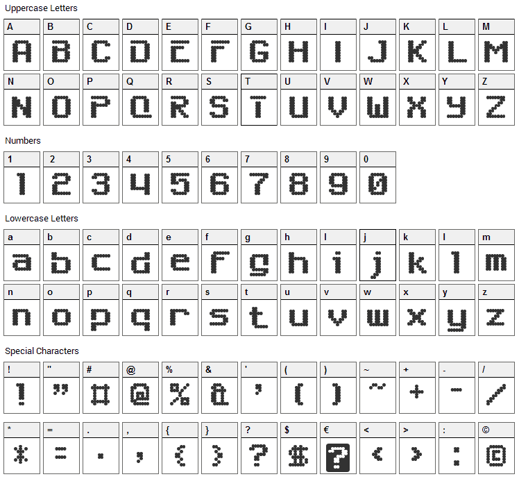 6809 Chargen Font Character Map