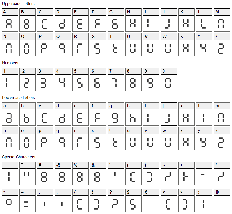 7LineDigital Font Character Map