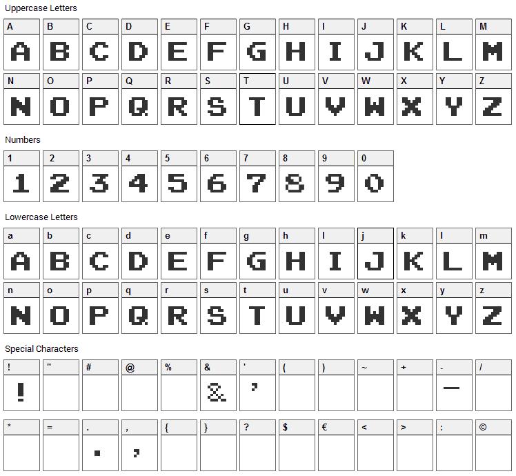 8 Bit Revival Font Character Map