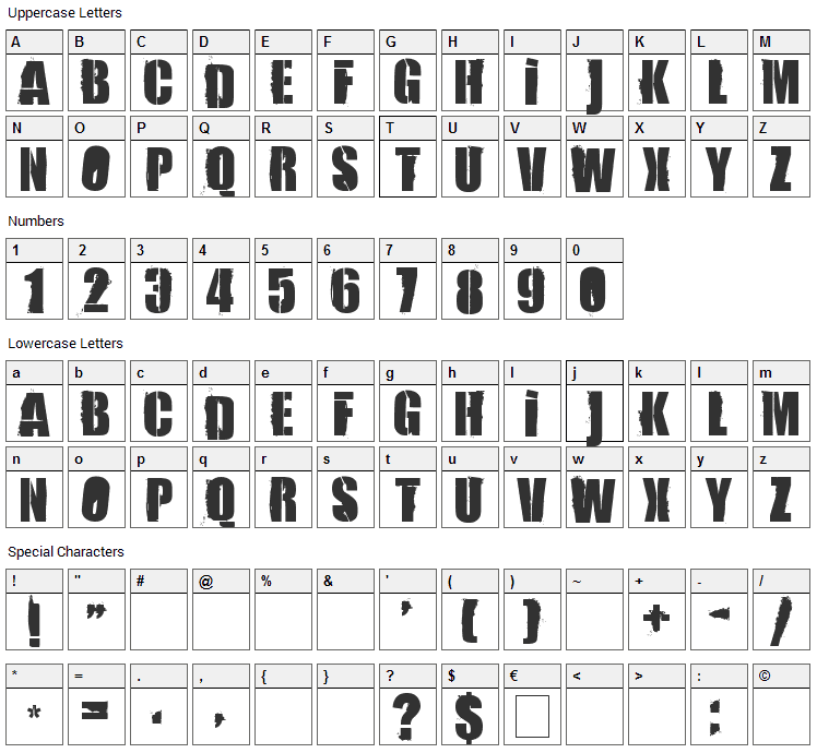 84 Rock  Font Character Map