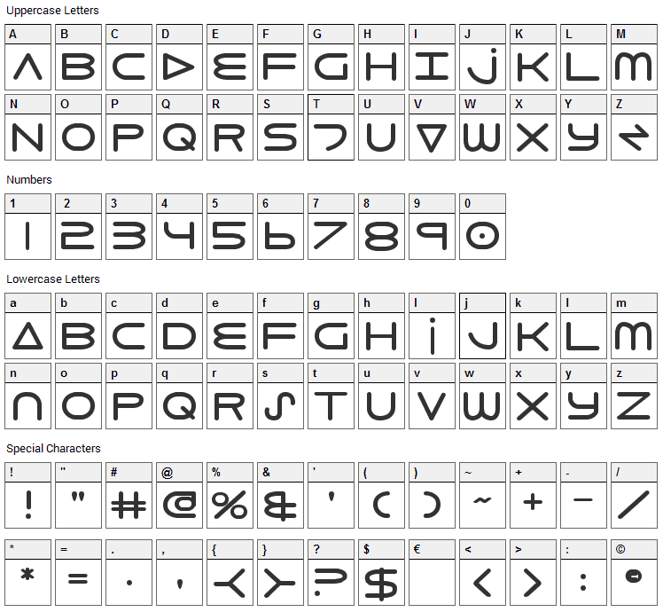 8th Element Font Character Map