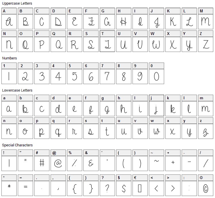 A Gentle Touch Font Character Map