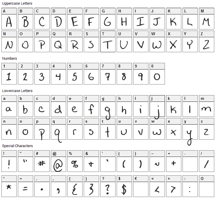 A Horrid Mistake Font Character Map