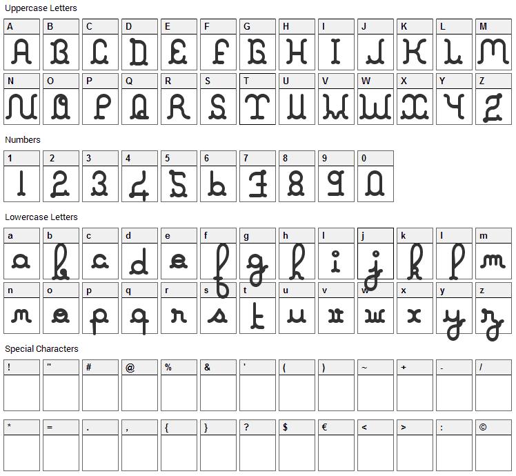 A La Nage Font Character Map