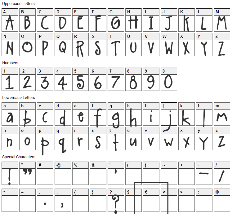 A Little Pot Font Character Map