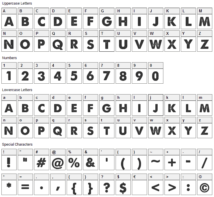 A Love of Thunder Font Character Map