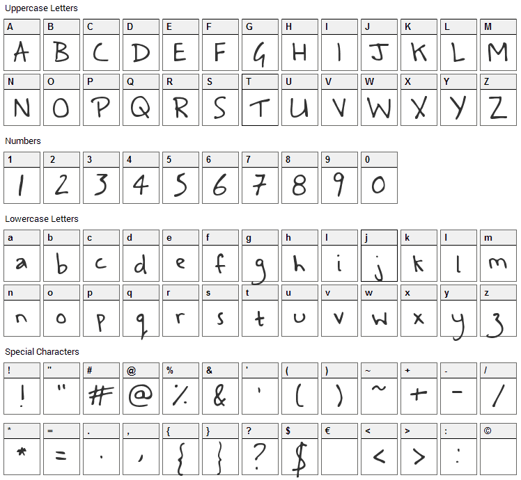 A Safe Place to Fall Font Character Map