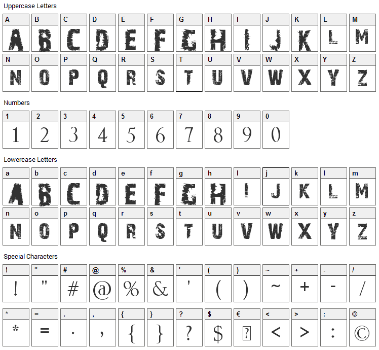 A Trip To Hell And Back Font Character Map