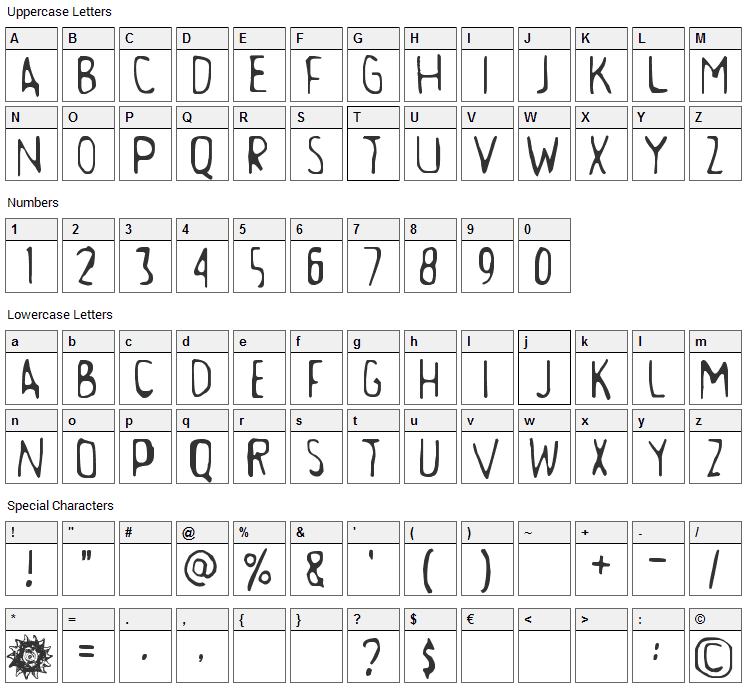 Aamunkoi Font Character Map