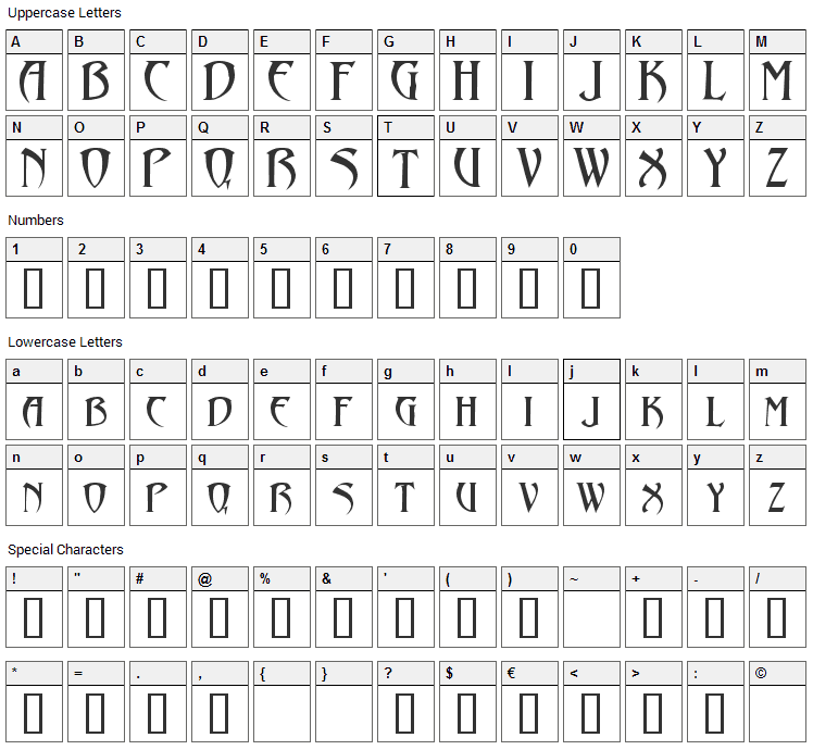 Abaddon Font Character Map