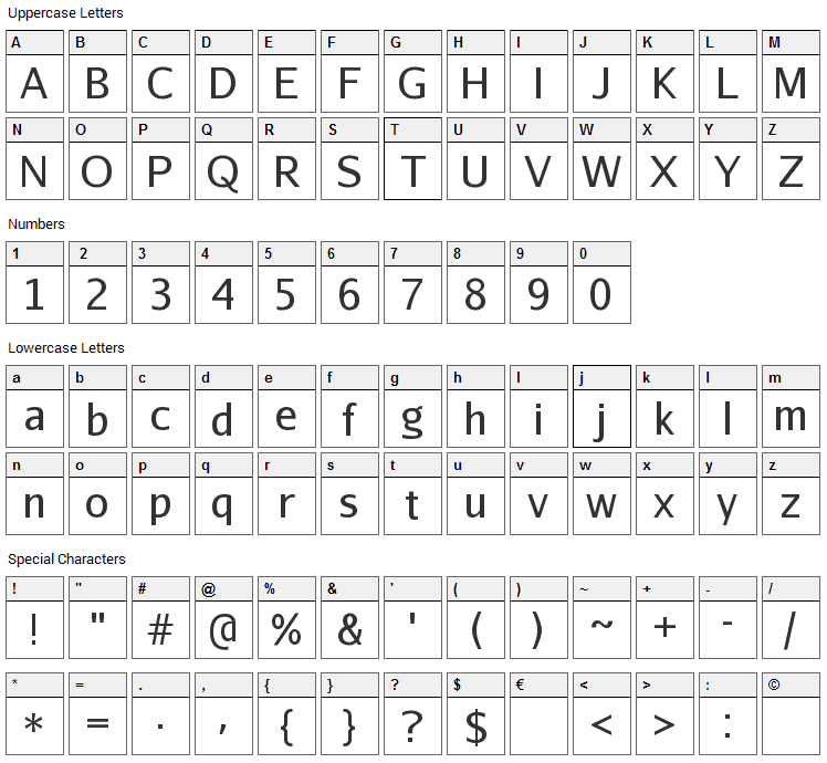 Abaku TL Sym Sans Font Character Map