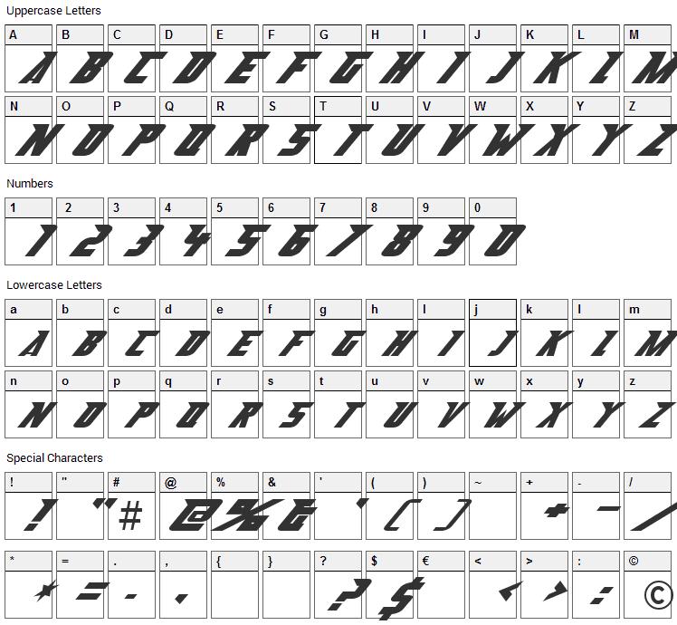 Abberancy Font Character Map