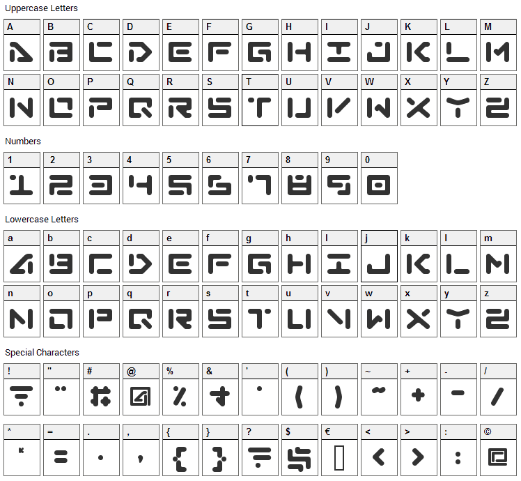 Abduction Font Character Map