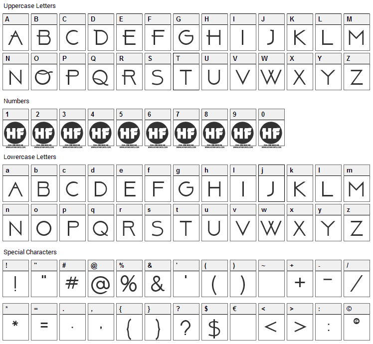 Above Font Character Map