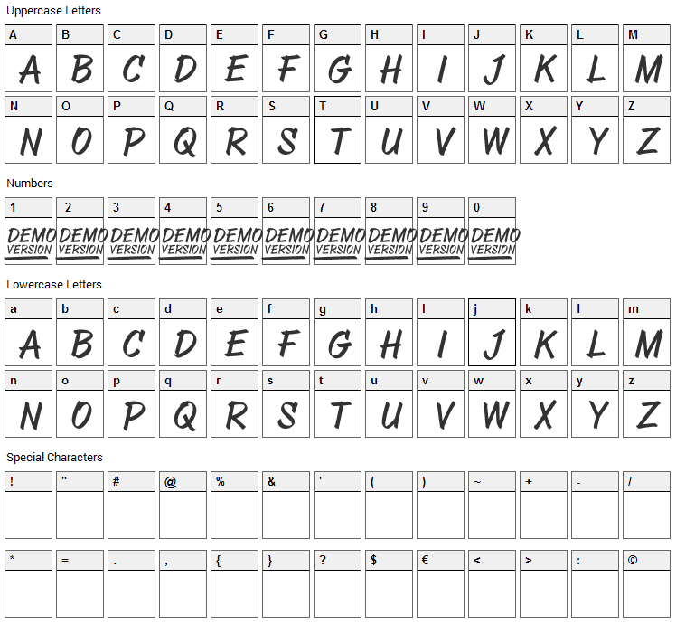 Abovea Font Character Map