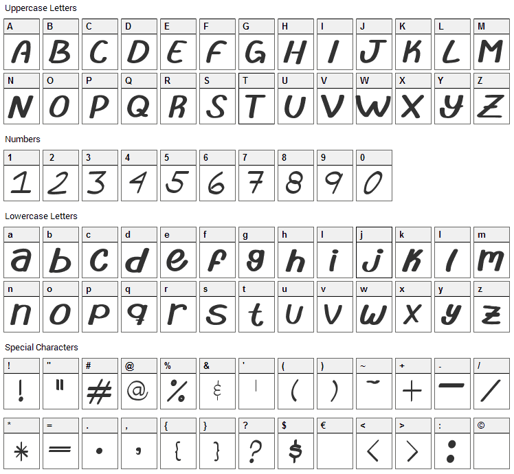 Abrila Font Character Map