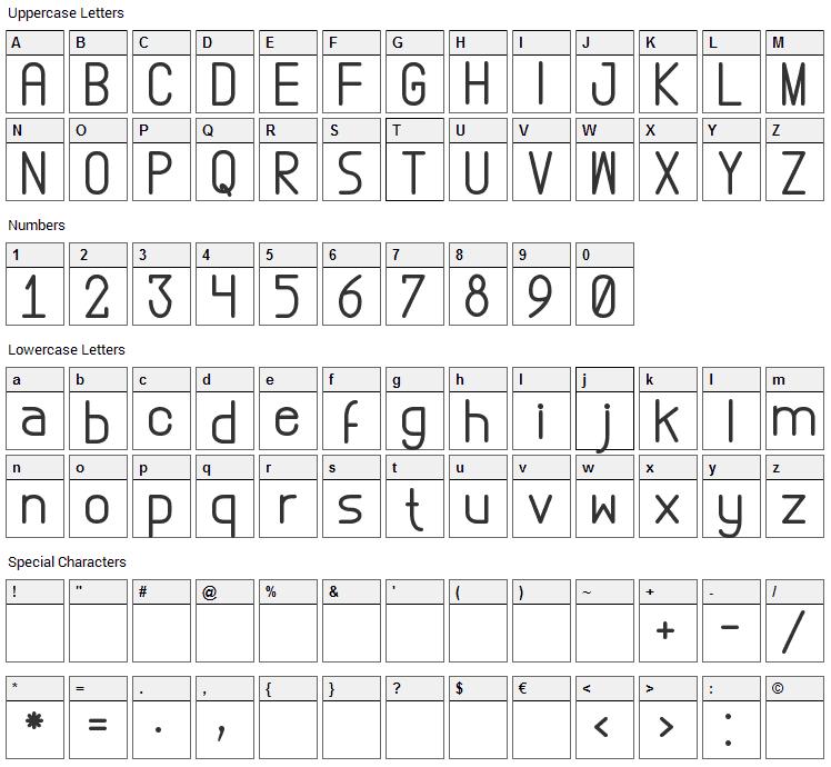 Abstrec Font Character Map