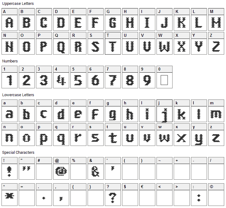 Abuela Grillo Font Character Map