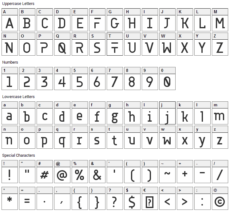 Accuratist Font Character Map