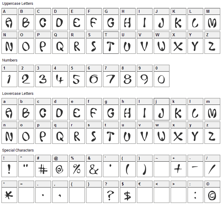 Ace Crickey Font Character Map